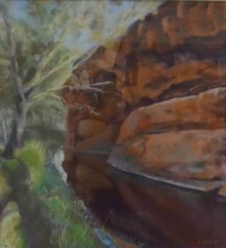 A Pastel artwork by Winston Head in the Realist style  depicting Landscape Desert with main colour being Brown Green and Orange and titled Durba Springs, Canning Stock Route