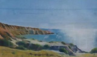 A Pastel artwork by Winston Head in the Realist style  depicting Landscape Beach with main colour being Blue Orange and White and titled Blanche Point, Maslin Beach