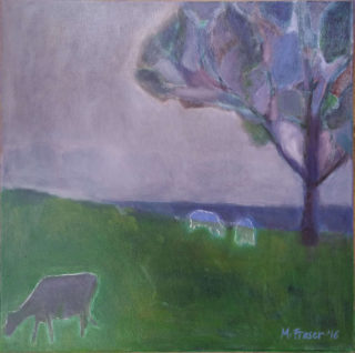 An Oil painting by Melissa Fraser in the Impressionist style  depicting Animals Farmland and Rural with main colour being Green and Purple and titled Slow Graze