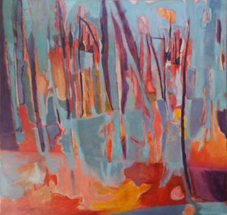 An Oil painting by Melissa Fraser in the Semi-Abstract Impressionist style  depicting Landscape Fire Sunset and Trees with main colour being Blue Orange and Purple and titled Fracture