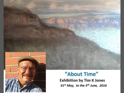 Poster showing a Tim K Jones pastel painting of a scene of the Blue Mountains near Katoomba Australia with a photograph of the artist and details his exhibition titled About Time