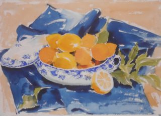 A Watercolour painting by Barbara Trapnell in the Impressionist style  depicting Still Life Fruit and Pots with main colour being Blue and Orange and titled Lemons