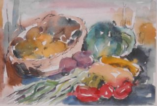 A Watercolour artwork by Barbara Trapnell in the Impressionist style  depicting Still Life Fruit with main colour being Blue Grey and Orange and titled Summer Pickings