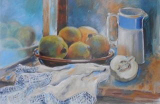 An Acrylic painting by Barbara Trapnell in the Impressionist style  depicting Still Life Fruit with main colour being Blue Brown and Cream and titled Quinces