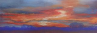 A Pastel artwork by Winston Head in the Realist style  depicting Desert and Sunset with main colour being Blue and Orange and titled Canning Stock Route Sunset #2