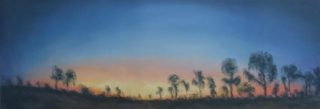 A Pastel artwork by WINSTON HEAD in the Realist style  depicting  Desert Sunset and Trees with main colour being Blue and Orange and titled Casuarina Sunset, Canning Stock Route