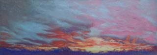 A Pastel artwork by WINSTON HEAD in the Realist style  depicting Desert Bush and Sunset with main colour being Blue Gold and Orange and titled Great Victoria Desert Sunset