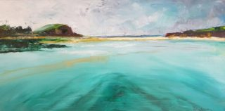 An Oil painting by Kathy Karas in the Impressionist style  depicting Beach and Water with main colour being Blue Green and Pink and titled Minnamurra