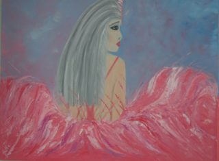 An Oil painting by Belinda Jane  McDonnell in the Impressionist style  depicting Woman with main colour being Blue Pink and Purple and titled Show Girl