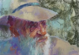 A Pastel artwork by Penelope Gilbert-Ng in the Impressionist style  depicting Portrait Man with main colour being Blue Cream and Green and titled Wazza