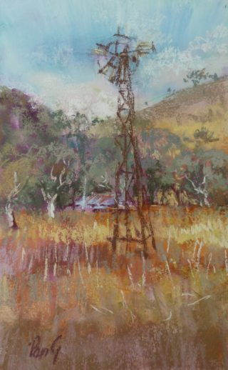 A Pastel painting by Penelope Gilbert-Ng in the Impressionist style  depicting Landscape Rural with main colour being Blue Ochre and Olive and titled Old Windmill