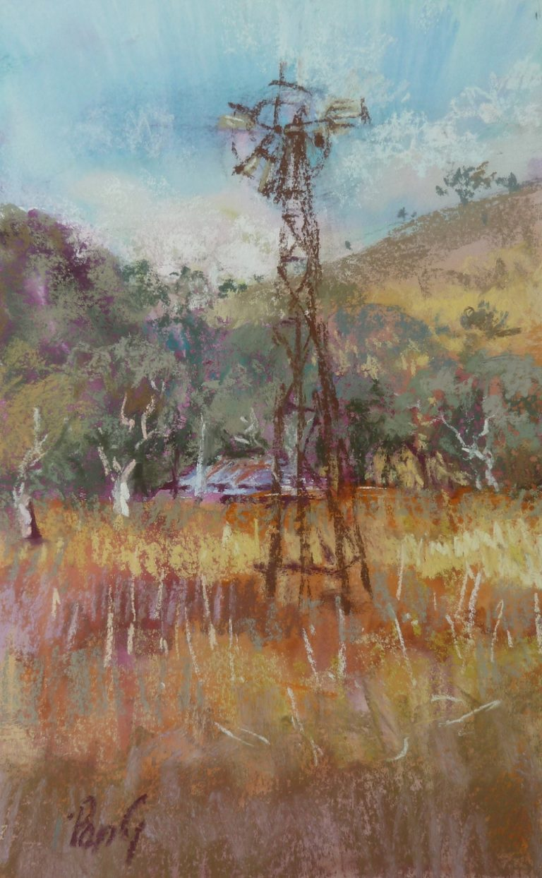 Pastel Painting by Penelope Gilbert-Ng titled Old Windmill