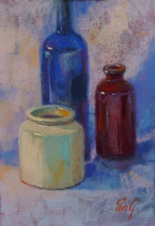 A Pastel painting by Penelope Gilbert-Ng in the Impressionist style  depicting Still Life Bottles and Vases with main colour being Blue Brown and Cream and titled Still Life