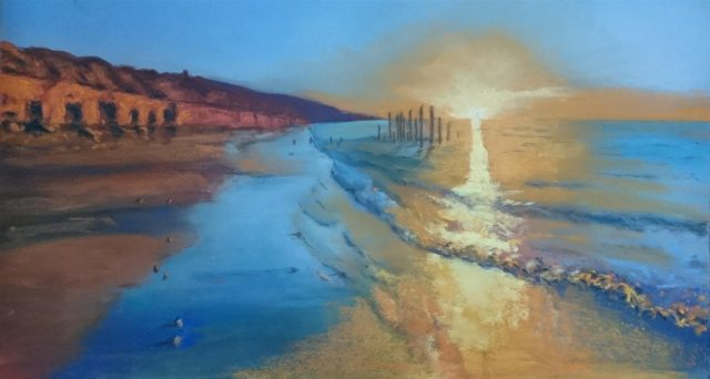 Pastel Painting by Winston Head titled Port Willunga Sunset (South Australia)