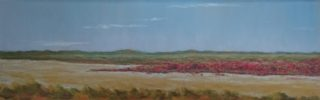 A Pastel artwork by Winston Head in the Realist style  depicting Lake Desert with main colour being Blue Cream and Pink and titled Serpentine Lakes, Anne Beadell Hwy