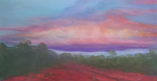 A Pastel artwork by Winston Head in the Realist style  depicting Desert and Sunset with main colour being Gold Pink and Red and titled Sunset Cloud Tallaringa NP, South Australia