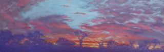 A Pastel artwork by Winston Head depicting Landscape Rural and Sunset with main colour being Blue Orange and Purple and titled Canning Stock Route Sunset 1
