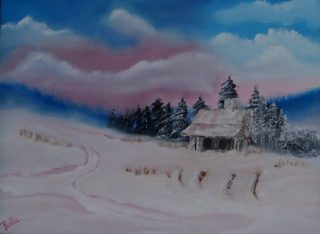 An Oil painting by Belinda Jane McDonnell in the Impressionist style  depicting Landscape Mountains and Snow with main colour being Black Blue and Brown and titled Cabin on Pink Snow Valley