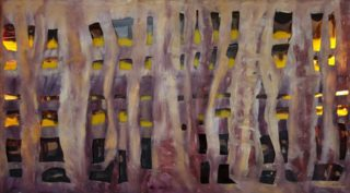 A Mixed Media artwork by Tim K Jones in the Semi Abstract Expressionist style  depicting Landscape Garden Sunrise and Sunset with main colour being Brown Cream and Gold and titled You Bring The Magic