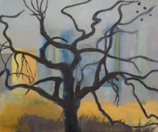 An Oil painting by Tim K Jones in the Semi Abstract Expressionist style  depicting Buildings City and Trees with main colour being Black Blue and Cream and titled Melbourne Winter Afternoon