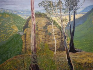 An Oil painting by Tim K Jones in the Semi Abstract Expressionist style  depicting Landscape Bush Farmland and Mountains with main colour being Blue Brown and Cream and titled Mitchell's Lookout towards Victoria Pass, Mt Victoria
