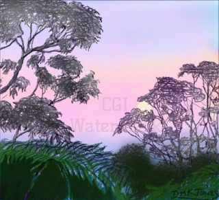 A  painting by Tim K Jones in the Realist Impressionist style  depicting Landscape Moon Mountains and Sunset with main colour being Blue Green and Purple and titled Dawn with setting moon over the shadow of earth, Mt Victoria
