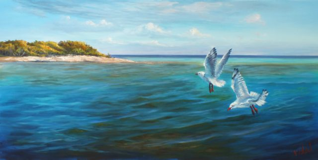 Acrylic Painting by Christopher Vidal titled On the reef - Lady Musgrave Island, QLD