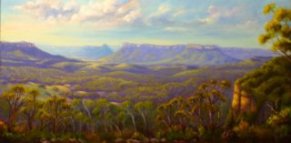 An Oil painting by Christopher Vidal in the Realist Impressionist style  depicting Landscape Bush and Mountains with main colour being Blue and Green and titled View on Capertee Valley from Pearsons Lookout, NSW