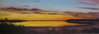 A Pastel artwork by Winston Head in the Realist style  depicting  Desert Lake and Sunrise with main colour being Blue Gold and Grey and titled Googs Lake Sunrise