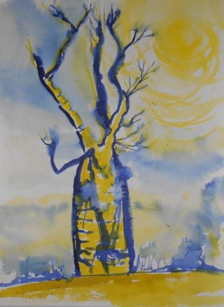 A Watercolour artwork by Pippa Newby depicting  Trees with main colour being Blue and Yellow and titled Boab Reaching