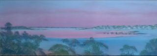 A Pastel artwork by Winston Head in the Realist style  depicting Lake Desert and Sunrise with main colour being Blue and Pink and titled Pre dawn colours; Googs Lake; Googs Track SA