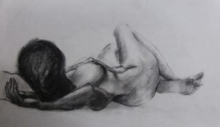 A Charcoal painting by Winston Head in the Realist style  depicting Nude Girl with main colour being Black and White and titled Sarah