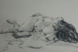 A Charcoal painting by Winston Head in the Realist style  depicting Nude and Woman with main colour being Black and White and titled Sufio