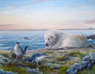 An Oil painting by William Ritchie in the Realist style  depicting Animals Beach and Birds with main colour being Blue Green and Grey and titled Middle Island Guardian