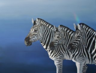 An Acrylic painting by Angela Parr in the Realist style  depicting Animals with main colour being Black Blue and White and titled Watching the Lions