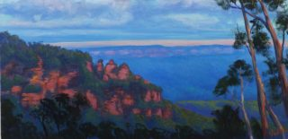 An Acrylic painting by Christopher Vidal in the Realist Impressionist style  depicting Landscape Bush Mountains and Rocks with main colour being Blue and Orange and titled Last lights Three Sisters Katoomba, NSW