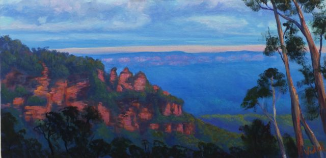 Acrylic Painting by Christopher Vidal titled Last lights Three Sisters Katoomba, NSW