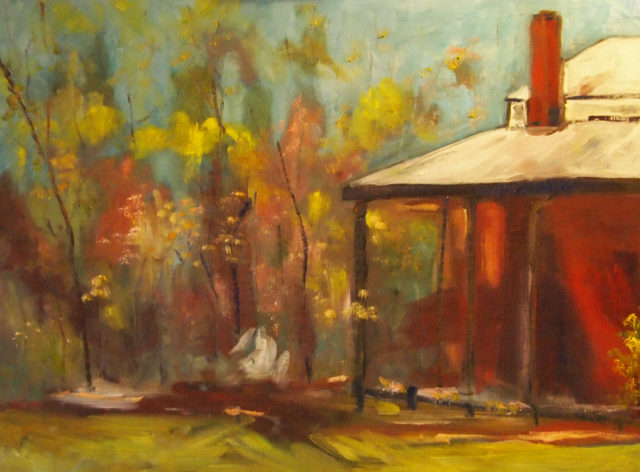 Oil Painting by Margaret Morgan-Watkins titled Homestead at Armstead Estate Knowsley