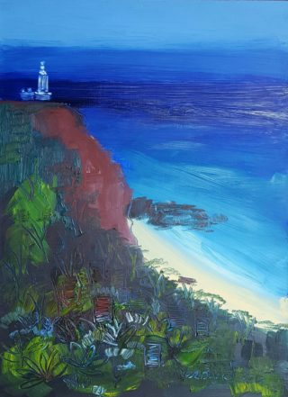An Oil painting by Jennifer Baird in the Impressionist style  depicting Seascape Beach Bush and Lighthouse with main colour being Blue Brown and Green and titled Norah Head Lighthouse.