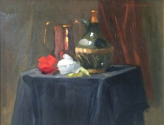 An Oil painting by Kathryn Morgana Aprile in the Realist Impressionist style  depicting Still Life Drapery and Flowers with main colour being Black Gold and Green and titled A Spanish Theme