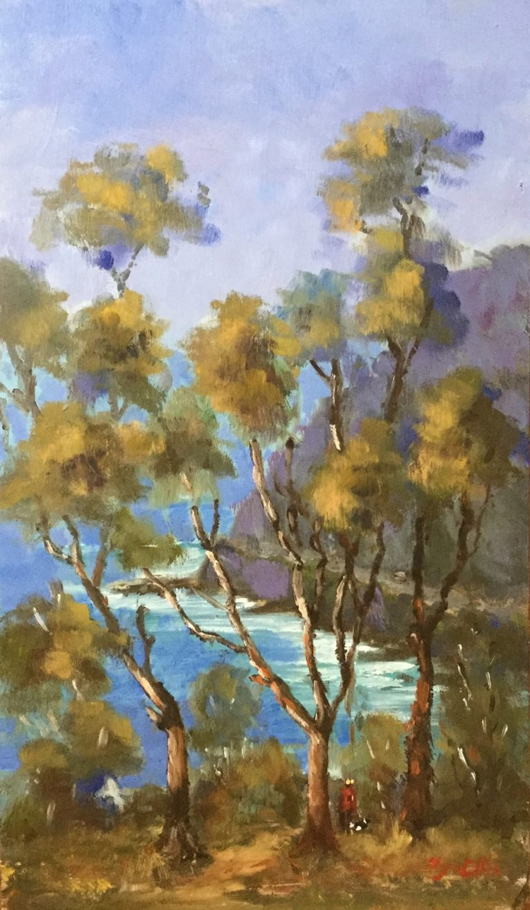 Oil Painting by Lyn Ellis titled Teddy's lookout - Lorne