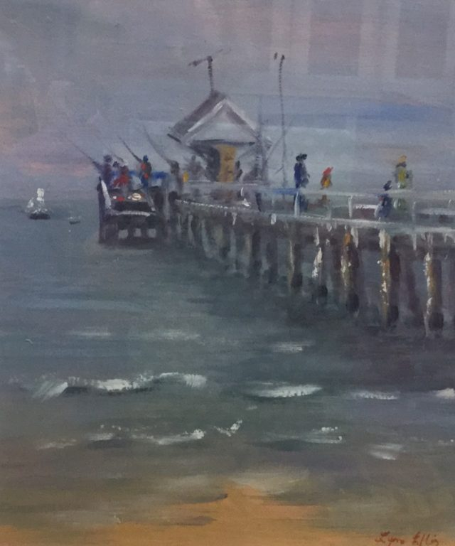 Painting by Lyn Ellis titled Fishing - Point  Lonsdale Pier