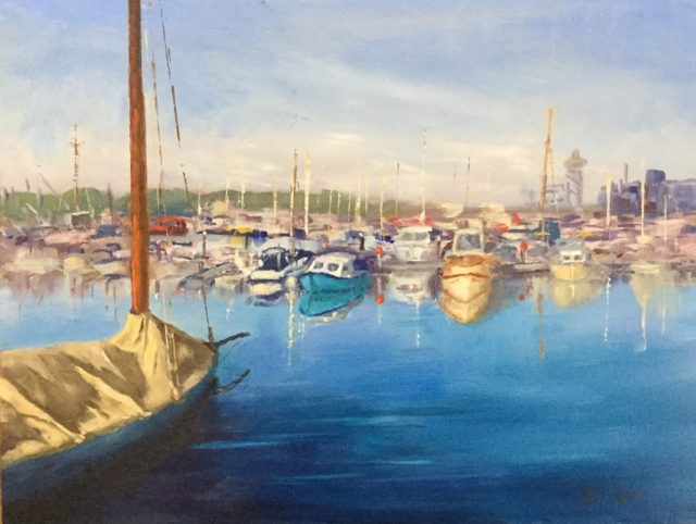 Oil Painting by Lyn Ellis titled Queenscliff Harbour