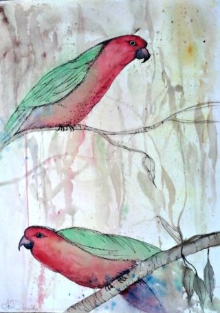 A Watercolour painting by Tracey L Dawes in the Impressionist style  depicting Animals Birds and Bush with main colour being Blue Brown and Yellow and titled A Pair of Kings