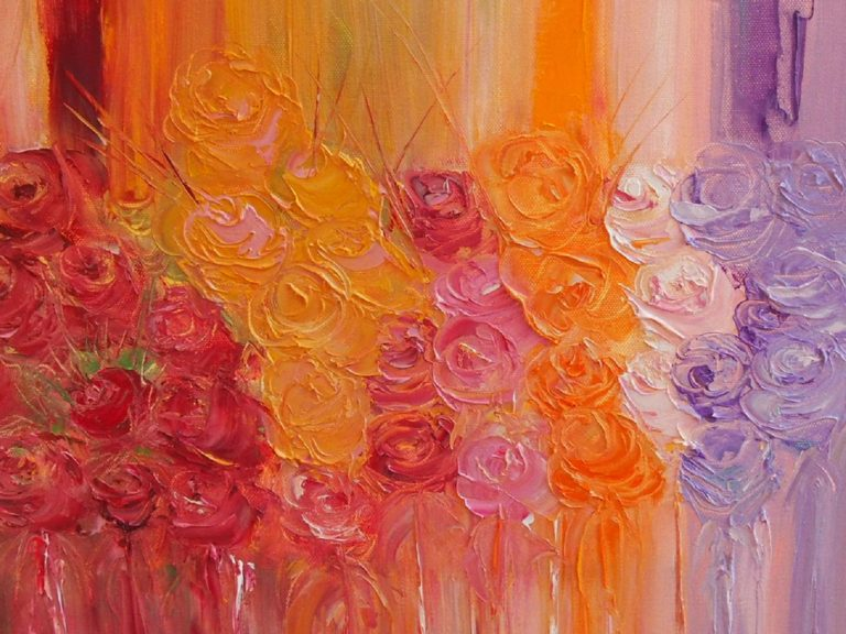 Oil Painting by Belinda Jane McDonnell titled Roses for my lady.