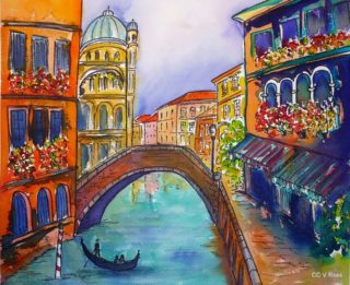 A  painting by Valarie Ross depicting Landscape Bridge Buildings and City with main colour being Blue and Red and titled Venice