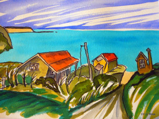A Watercolour painting by Valarie Ross in the Contemporary Realist style  Beach and Buildings with main colour being Green and Red and titled By the sea NZ Bach