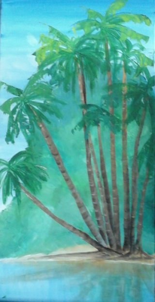 An Acrylic painting by Tracey L Dawes in the Realist Impressionist style  depicting Water Beach Sea and Sunrise with main colour being Blue and Green and titled Island Palms