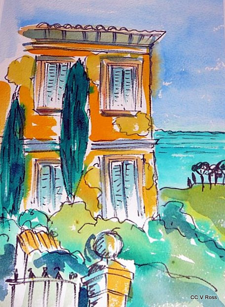 Painting by Valarie  Ross titled Abandoned Villa