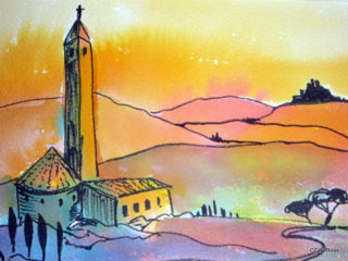 A Watercolour painting by Valarie  Ross in the Contemporary Realist style  depicting Landscape Sunset with main colour being Orange and titled Sunset in Tuscany